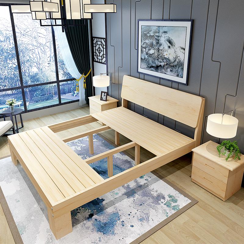 新型松木ベッドの枠にシングルベッド1.21.5メートルダブルベッド1 . 81メートル子供用ベッド北欧木造寝込んだ