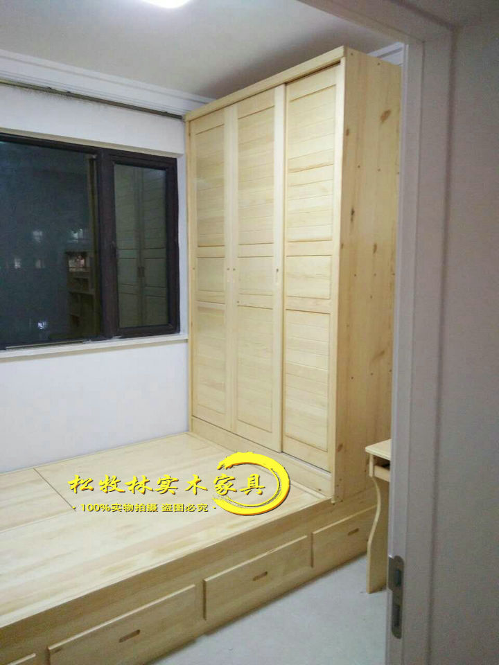 Nanchang environmental protection wood factory direct whole solid wood furniture can be customized tatami bed and wardrobe tatami