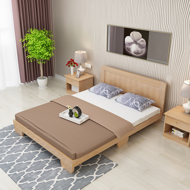 The national post real wood double bed single bed bed bed board short children meters 1.51.8 meters to the bed