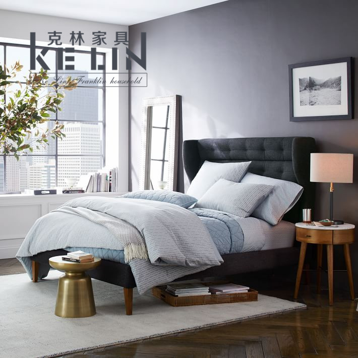 The Nordic minimalist modern fashion fabric cotton fabric double bed modern solid wood furniture model room