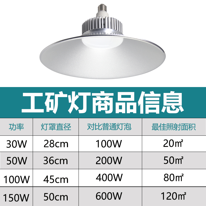 Led industrial and mining lamp floodlight 50w100w chandelier workshop workshop workshop explosion proof high power lamp shade