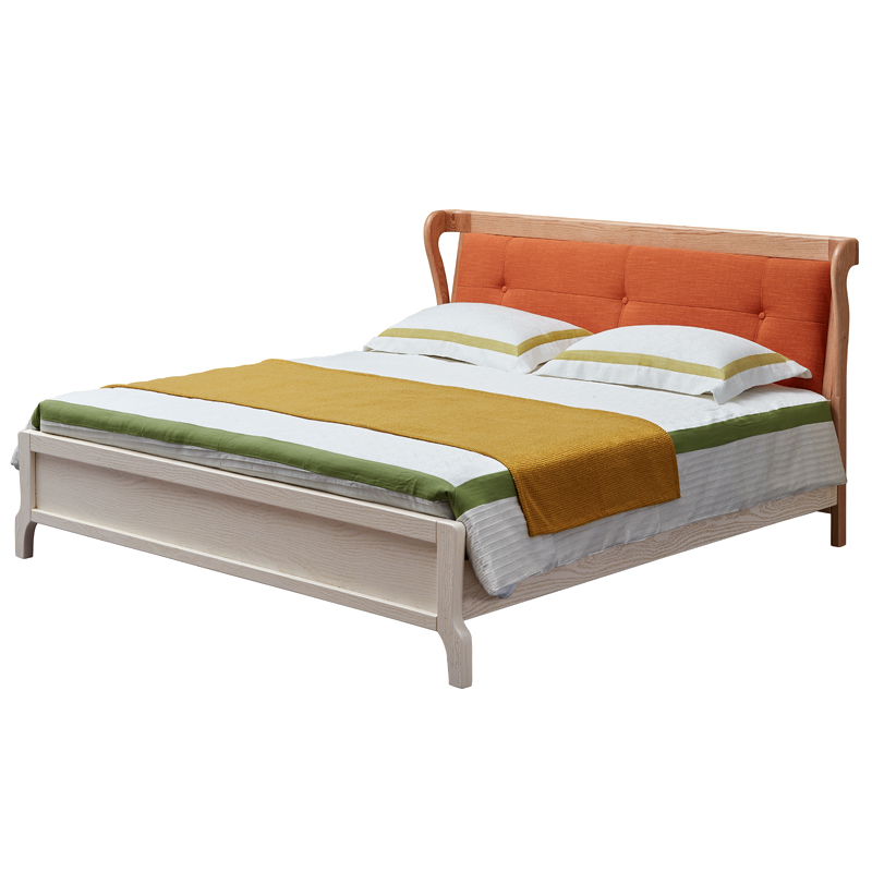 All solid oak wooden bed 1.8 meters large-sized apartment double Scandinavian minimalist modern fabric bed wedding bed bedroom furniture
