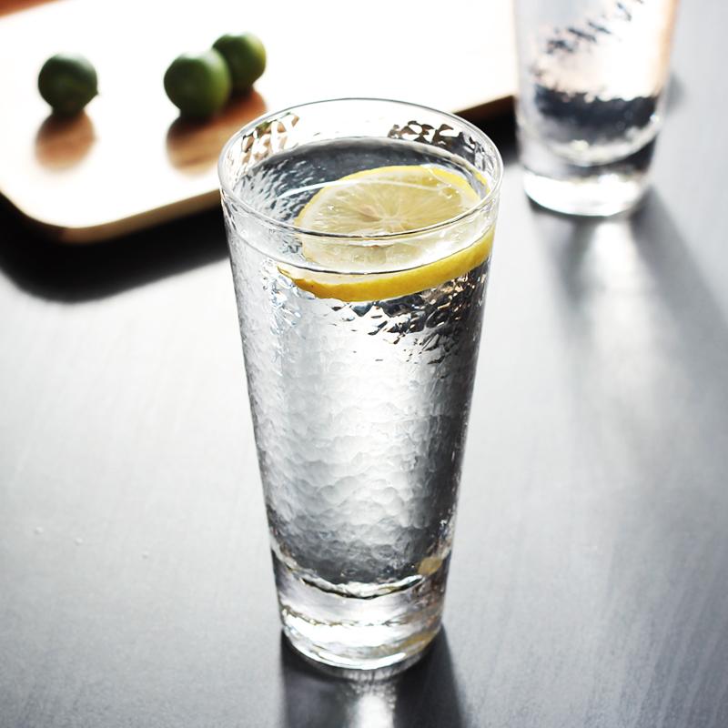 矮款斜身300ml比利時款夏季小清新透明玻璃杯創意錘紋家用奶茶果汁早餐啤酒水杯