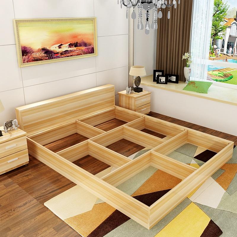 Modern minimalist type bed 1.2 meters 1.5 meters 1.8 meters double bed adult bedroom furniture tatami