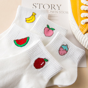 袜子女短袜浅口韩国可爱夏季薄款白纯色水果字母条纹学院风船袜女