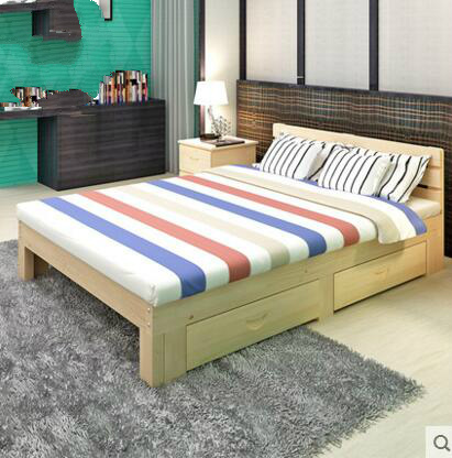 M 1 m 1.2 m children crib simple single bed double bed solid wood bed 1.8 meters of simple pine bed 1.5