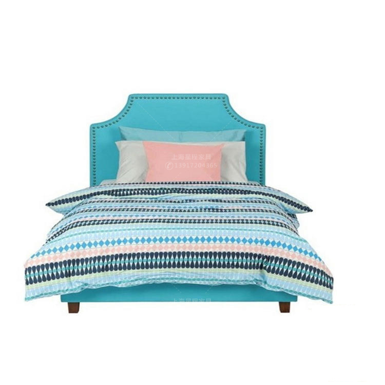 Spot the Nordic modern minimalist cloth bed 1.21.5 meters bedroom princess bed sheets double blue soft bed for children