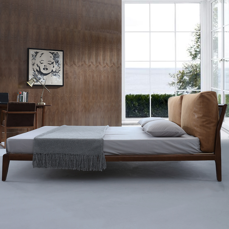 Simple modern high back down cloth bed 1.8 meters double bed bed Nordic wood ash leather bed