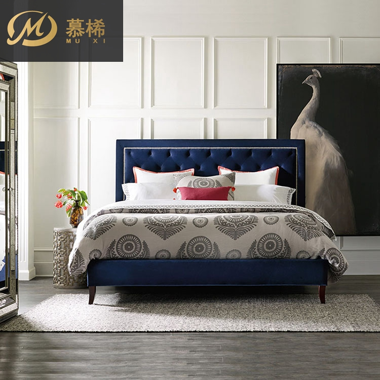 For Xi modern American soft cloth by double bedroom wood contracted 1.5 meters to 1.8 meters of fabric bed bed