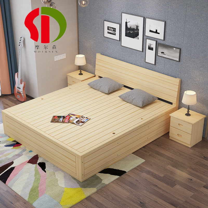 Wood frame bed double pneumatic bed storage hydraulic rod tatami bed height box bed low pine custom hard box