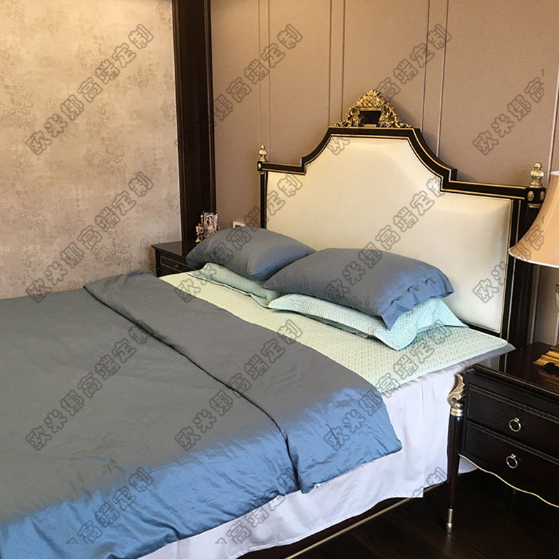 American double French American new classic wood carved bed bed leather custom soft bed 1 meters 8 bed by