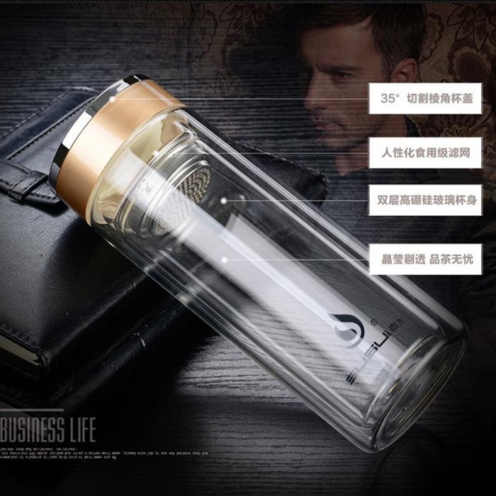 La Oficina de comercio transparente de vidrio doble vacío y ancianos, hombres y mujeres de filtro de aislamiento termo de té forma de bala