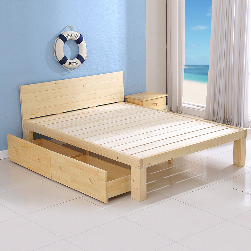 2016 new package full solid pine furniture, single and double children 1.8 meters, simple modern bed widening special price