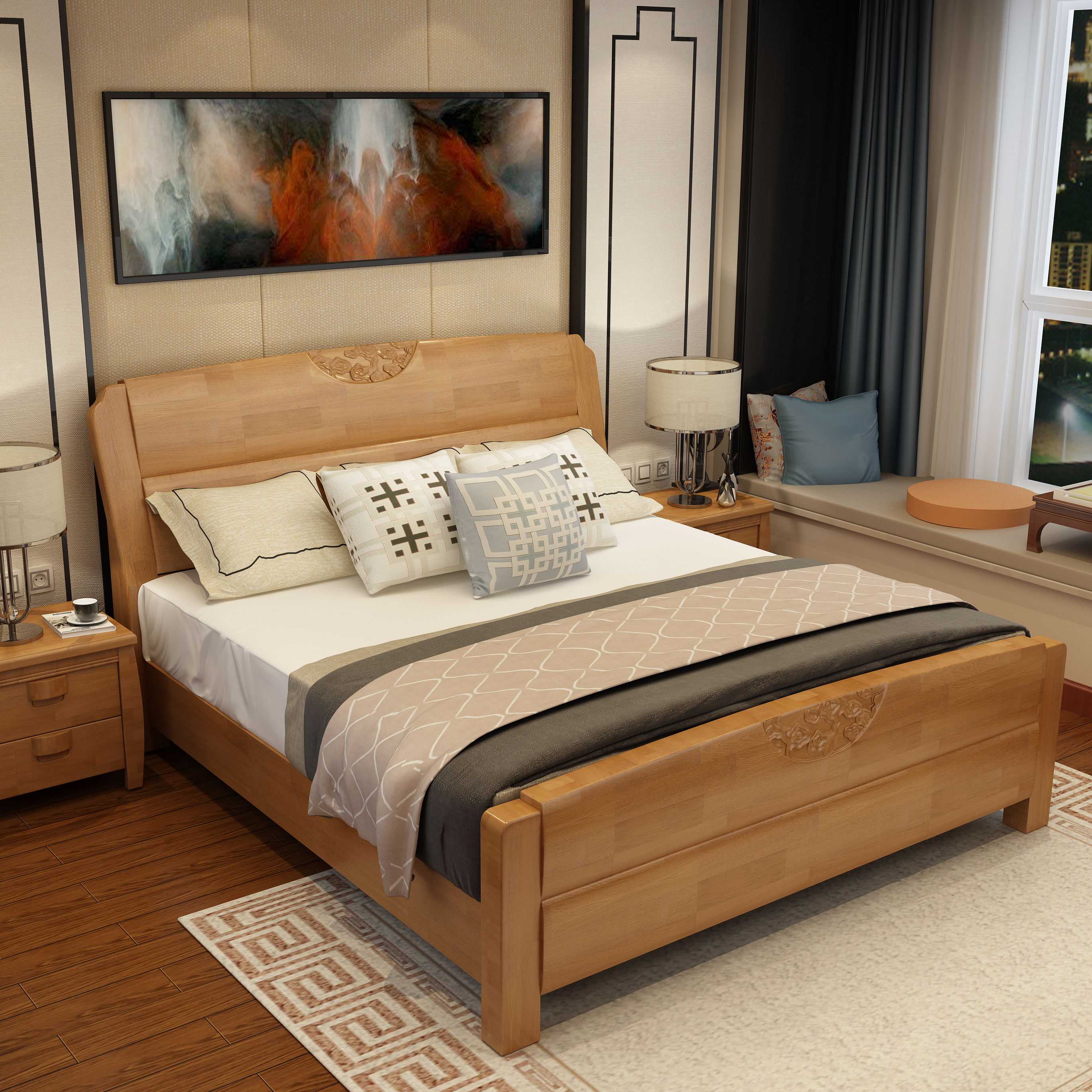 All solid wood bed, 1.5 oak beds, 1.21.8 meters special double bed, high box storage case bed, children's bed 1.35