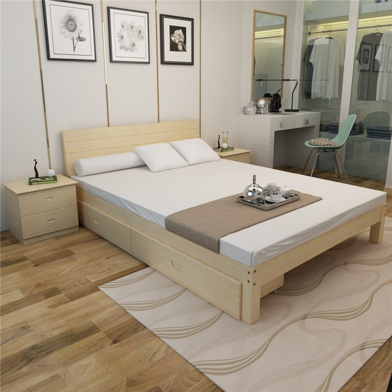 Modern minimalist wooden bedstead pine wood bed widening lengthened and widened children bed bed with guardrail plate