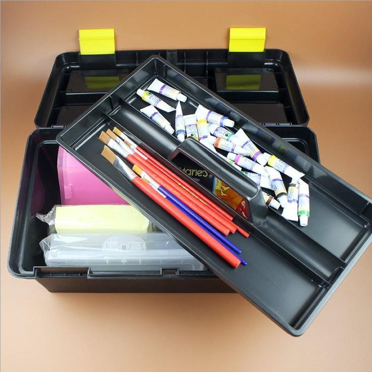 La cassetta degli attrezzi a mano la calligrafia di tre STRATI di Pittura Tuba Colore solido in una scatola di Plastica per uso domestico, Multi - funzione