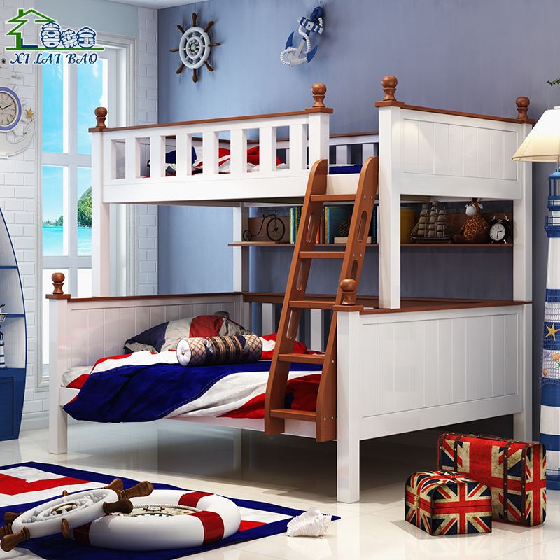 Hi LEYBOLD double bed bed pine children bed bed in Haizi mother mother bed all solid wood bunk bed