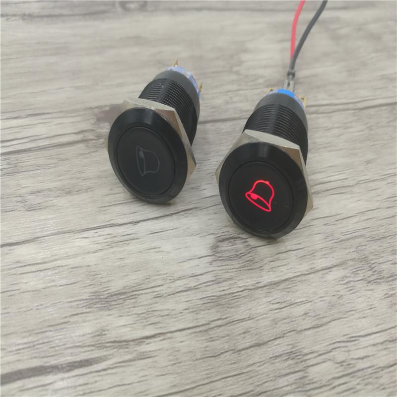 19MM Metall - schaltfläche symbol mit der Lampe selbst auto - schalter wasserdichte reset Button MIT Licht.