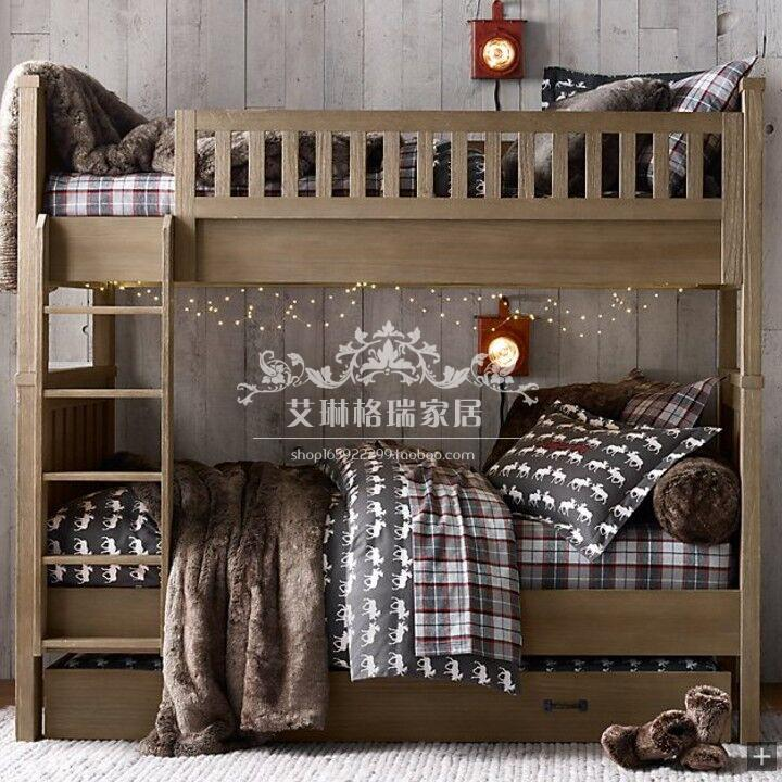 American style retro all solid wood high and low bed French Antique children double layer bed, top and bottom barrier bed customization