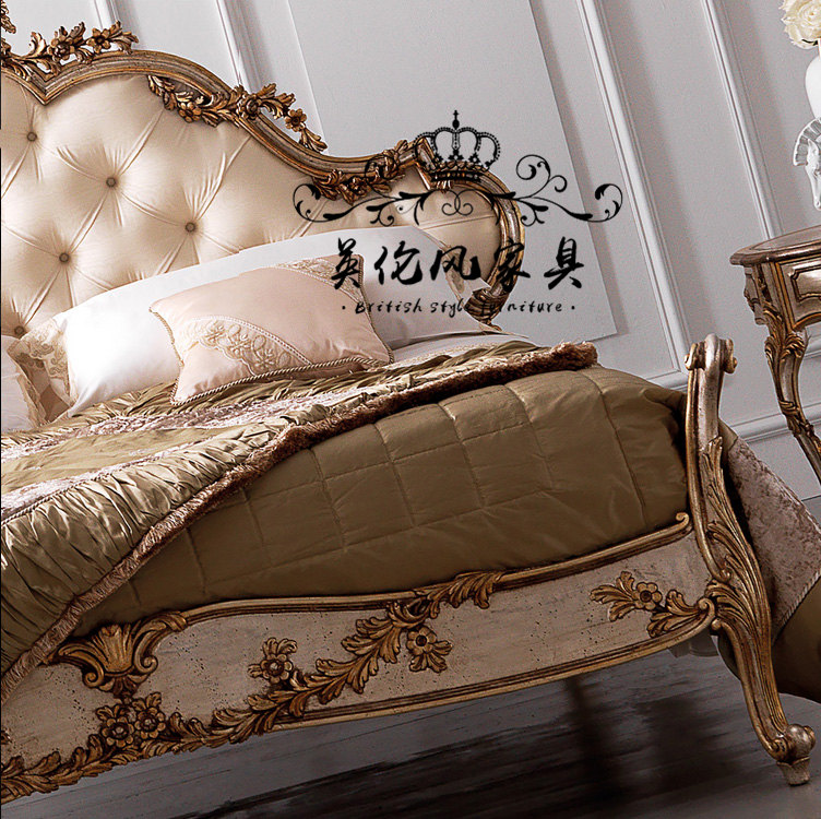 New classic wood carved Bed French Vintage Old soft bed double bed bedroom bed European Princess Jane