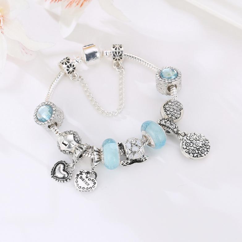16cm歐美風格經典桃心掛墜手鏈 大孔藍色琉璃珠diy手鏈送女友禮物