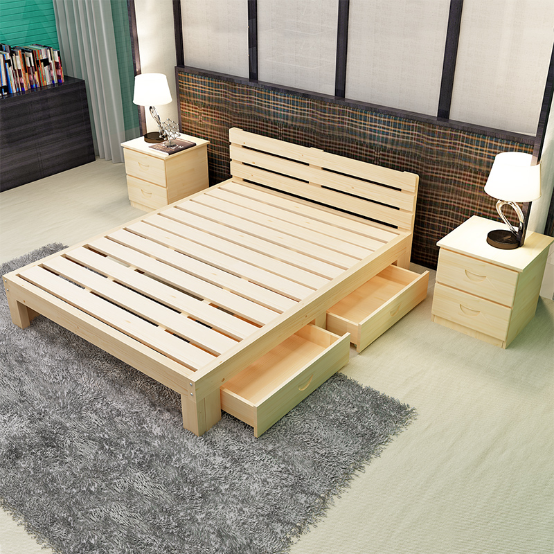 Simple solid wood single bed, children's bed, pine back, adult bed, drawer, wooden bed, 1-1.8 meters