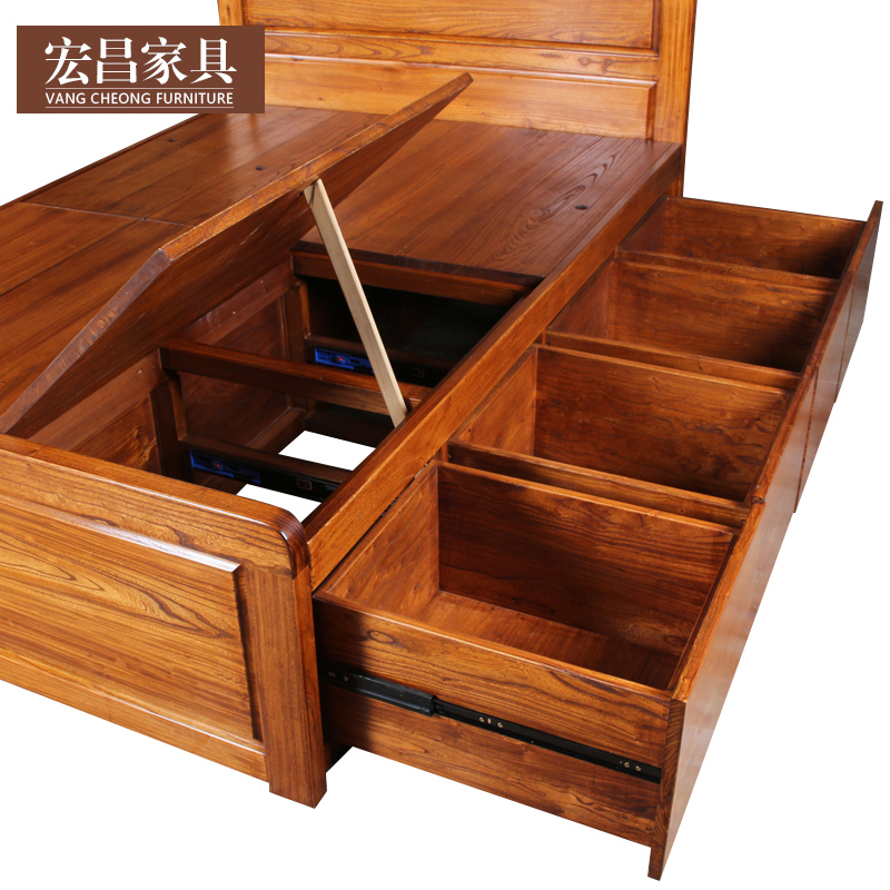 The modern Chinese style furniture Hongchang old elm wood clapboard drawer storage single double bedroom can be customized