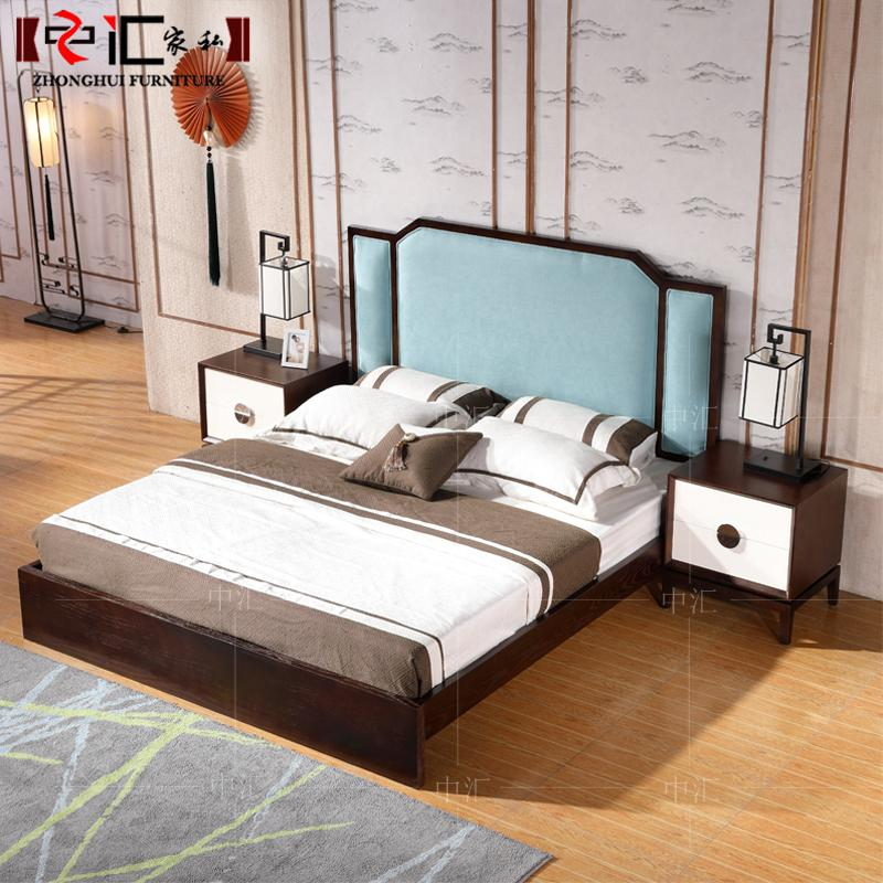 The new Chinese Zen master simple wood double 1.8 meters double bed room of modern classical furniture