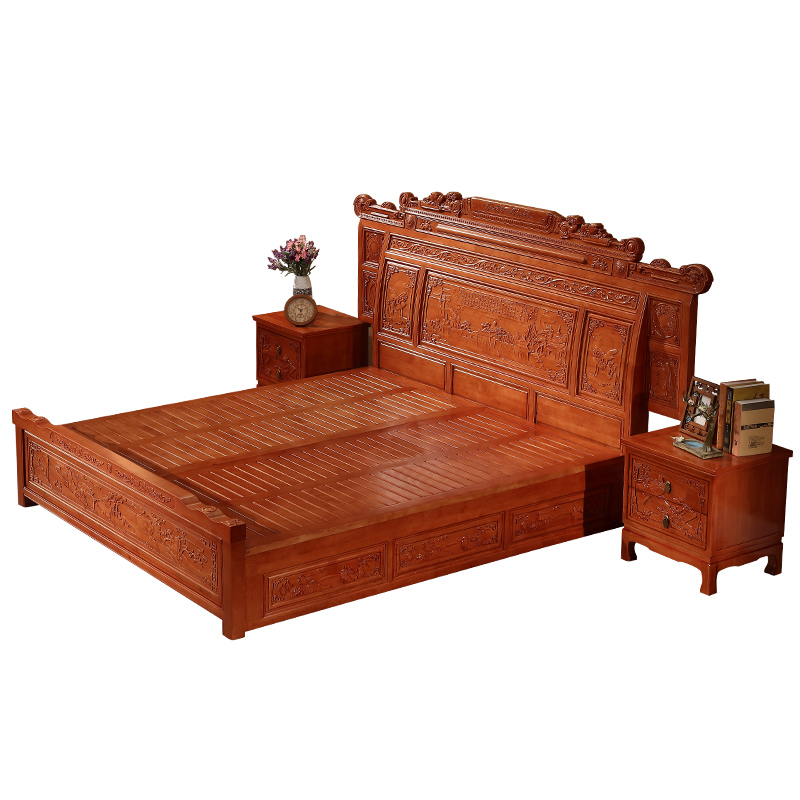 Solid wood bed, Ming and Qing Dynasty carved antique furniture 1.8 meters, new Chinese oak double bed, imitation mahogany high box bed