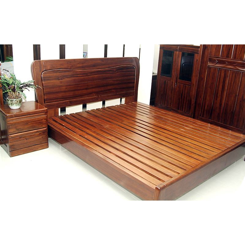 Sheng Yu E solid wood bed, 1.8/2 meters double bed wedding bed, simple modern teak series, all solid wood adult bed