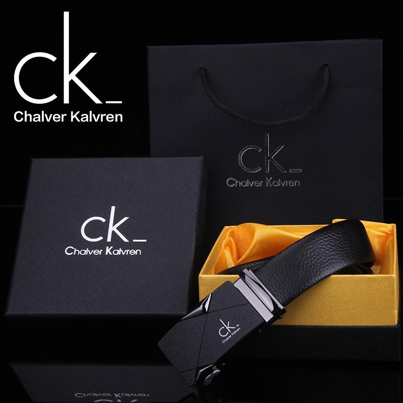 CK auténticos hombres de cierre automático de cinturón de cuero de cuero de ganado puro macho el cinturón con paquetes de regalo la primera capa de la juventud