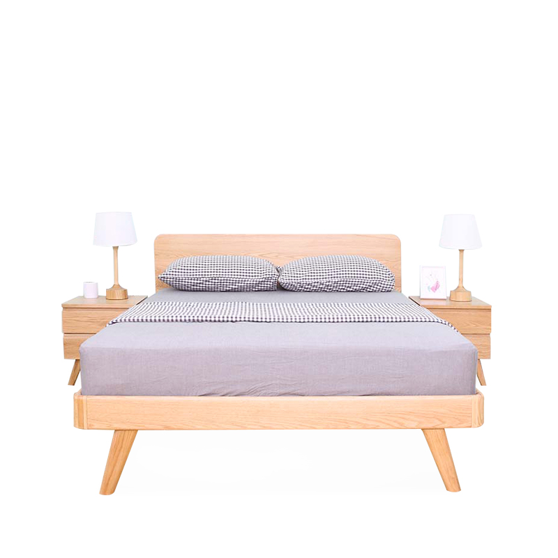 Modern simple solid wood double bed, master bedroom, oak bed, marriage bed 1.5 meters, 1.8 meters, small Huxing bed double 11 special bed