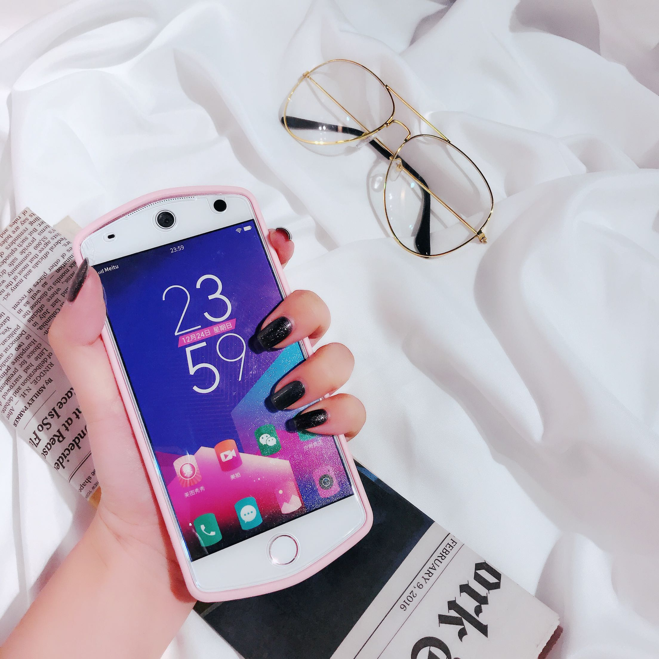 Mito T8/M8/M6s mobile phone shell powder round reduced M4S wave package soft shell falling strap woman v4s