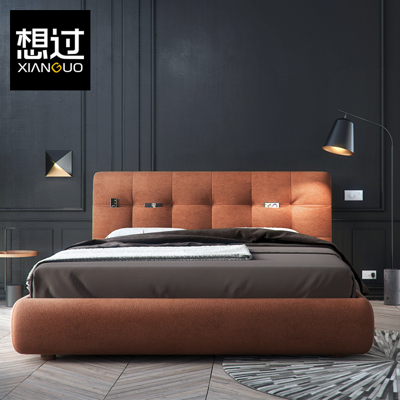 Thought the Nordic modern minimalist fashion fabric bed double bed bed Zhuwo creative large-sized apartment bed cloth