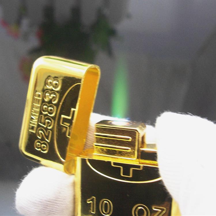 La personalidad creativa de los encendedores de lingotes de oro de viento metal logo grabado personalizado para regalo de aniversario