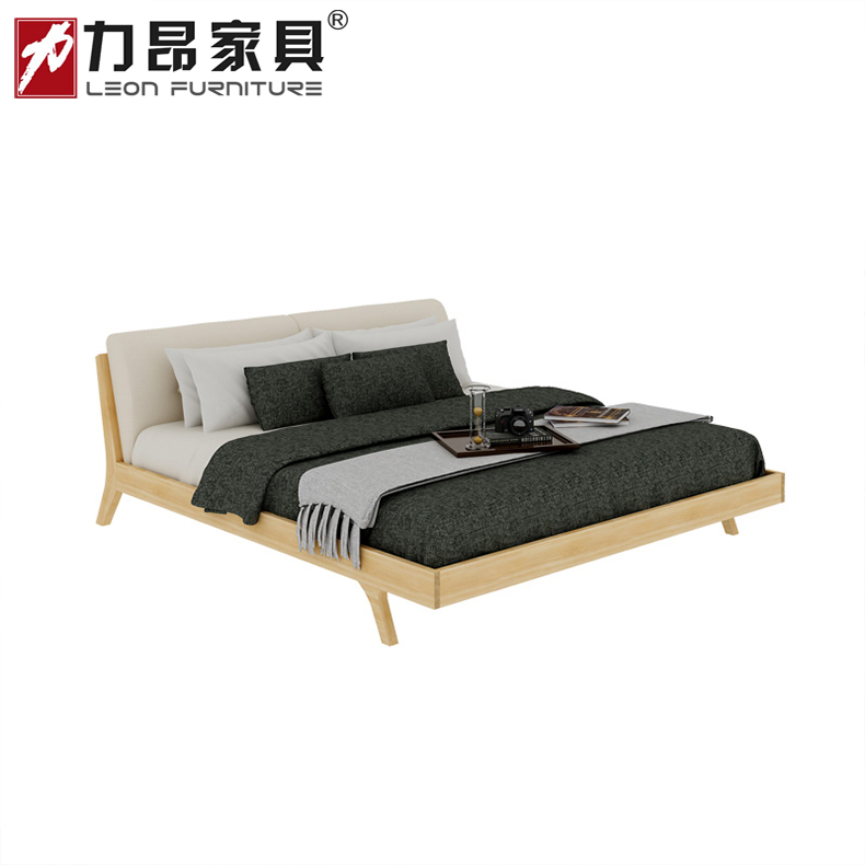 Nordic minimalist furniture 1.51.8 meters adult outlet double bed modern minimalist full solid oak bed