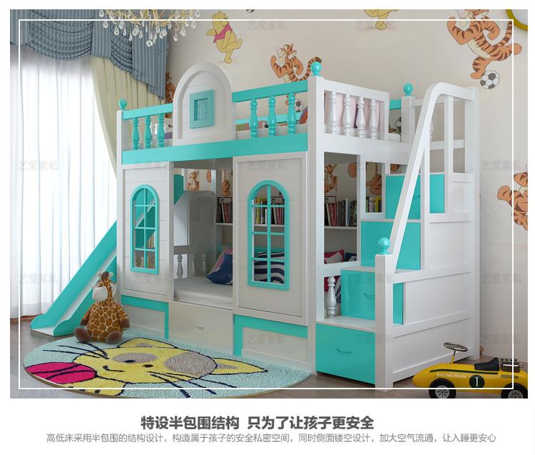 En la función de la altura de la cama de la cama de madera maciza, los niños y el castillo de la princesa la cama litera con escritorio de la diapositiva