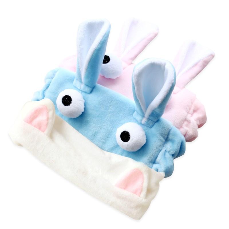 Hermosa rosa dibujos de grandes orejas de conejo en la cara de maquillaje creativo joven corazón venda diadema doble aro