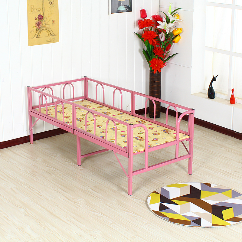 Children's bed with guardrail, folding bed, boys, girls, princesses, sheets, beds, simple beds, iron beds, children's beds