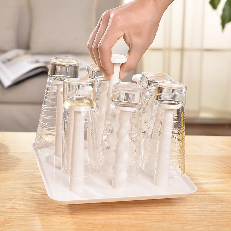 販促グラス棚滴り湯飲み機創意家庭用プラスチックグラスカップコーヒー沥水機
