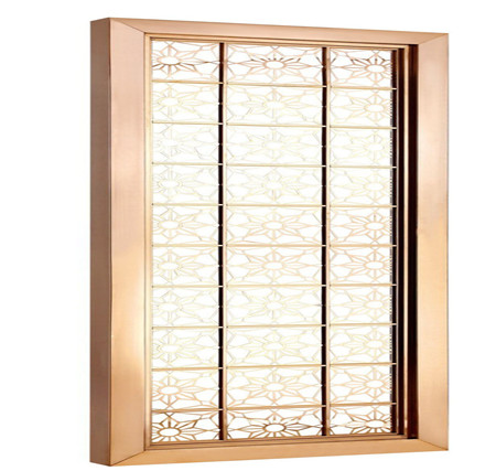 Foshan custom hotel stainless steel screen color lattice door entrance off the living room decoration effect diagram