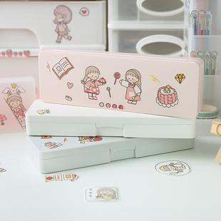 磨砂创意网红可爱文具盒 日系简约小学生ins潮少女塑料透明铅笔袋