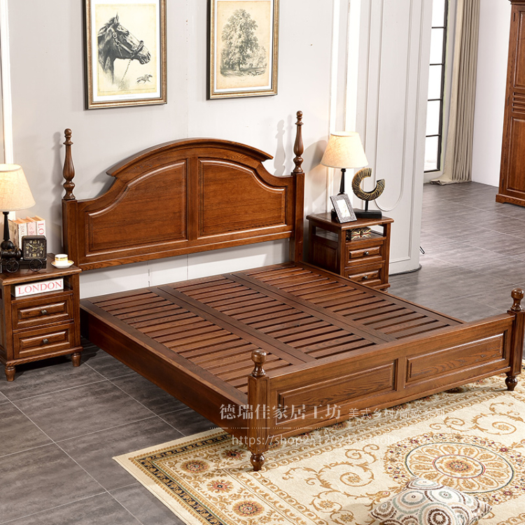 American country solid wood bed, Fraxinus wood, European and American bed, 1.8 meters double bed, American style villa bed, marriage bed bedroom furniture