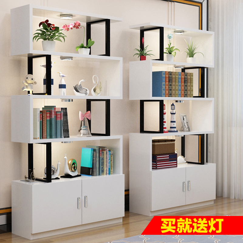 简易书柜书架产品展示柜化妆品展柜客厅隔断柜置物架落地简约现代