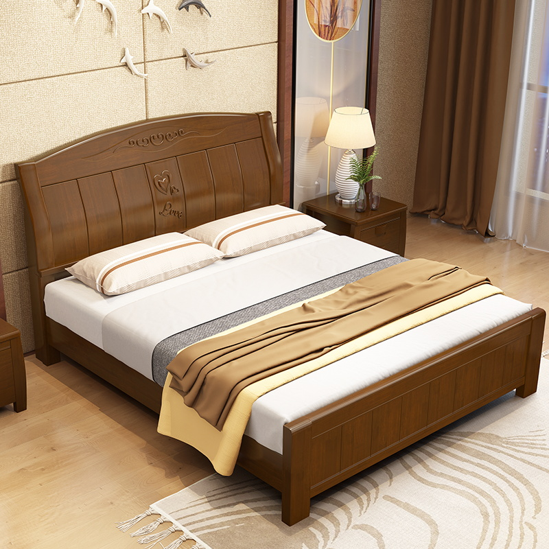 Simple modern Chinese economy solid wood bed, 1.8 meters double bed oak bed, 1.5 master bedroom, high box storage bed