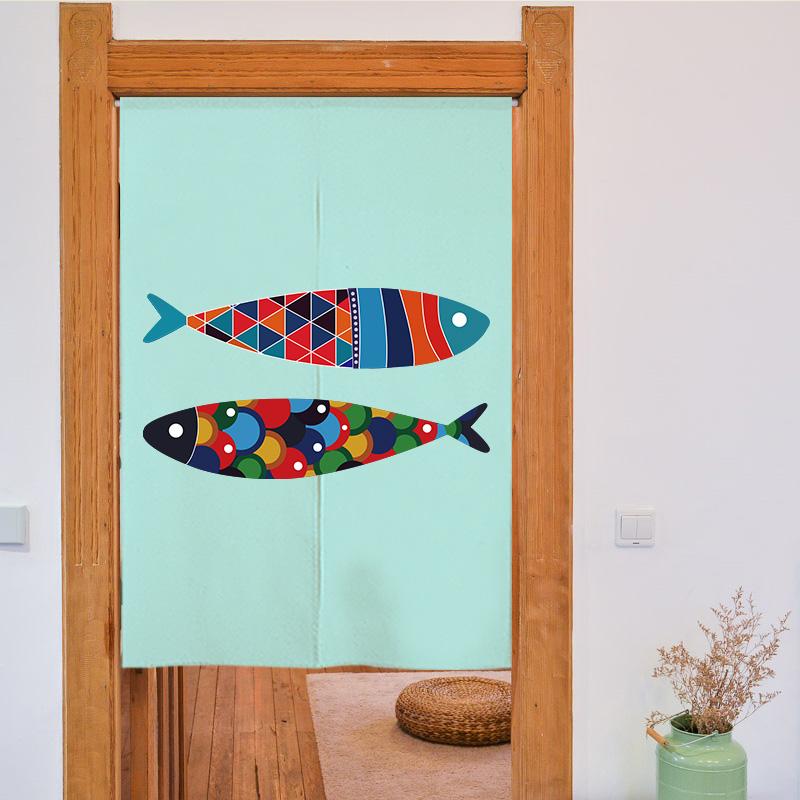 настраиваемый милый маленький свежий спальни, гостиной геометрия рыбы утолщение хлопок и лен ткань шторы раздела пакет отправьте род