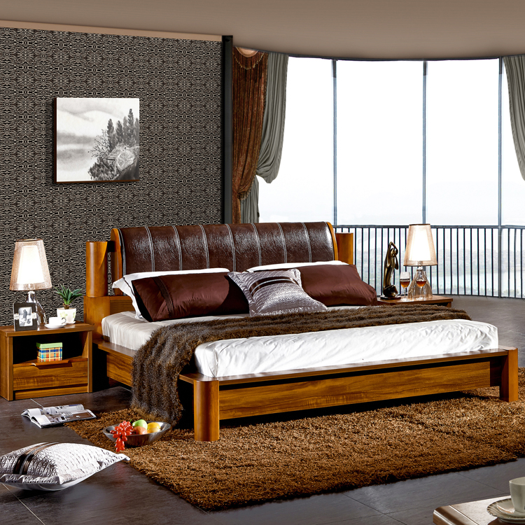 Solid wood bed 1.8 meters double bed 1.8M modern Chinese wedding bed, soft double bed, high box storage bed oak