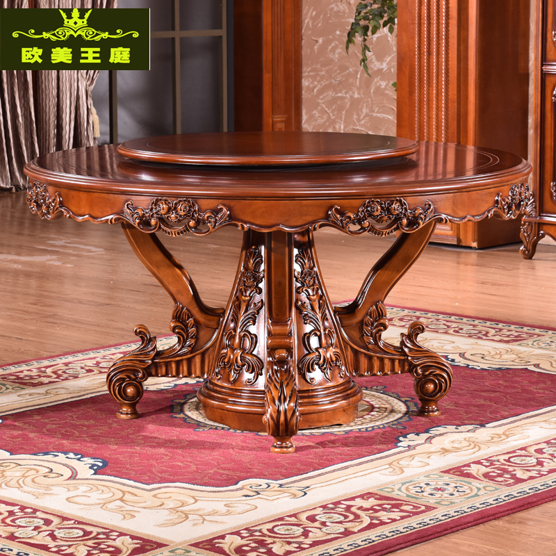 European style table chair combination, new classical assembly table, solid wood 6 person carved turntable table table marble round table