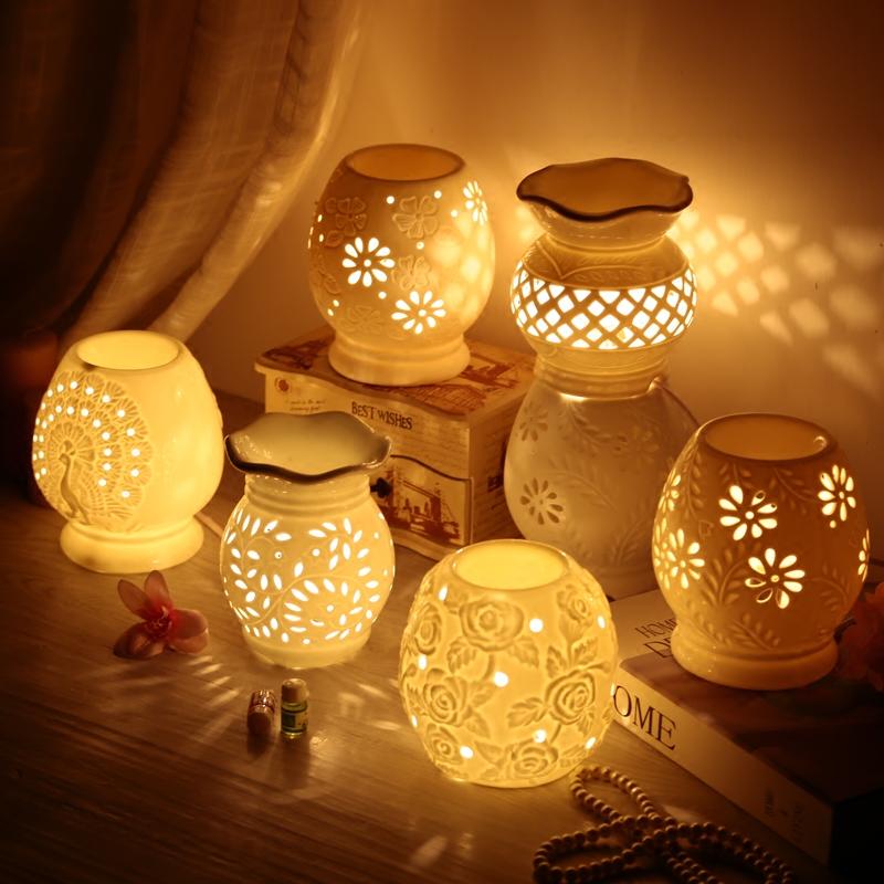 включить электричество керамическая горелка классической формы начало лампа Берже Ароматерапия помогает кровати спать ночь лампа настольная лампа