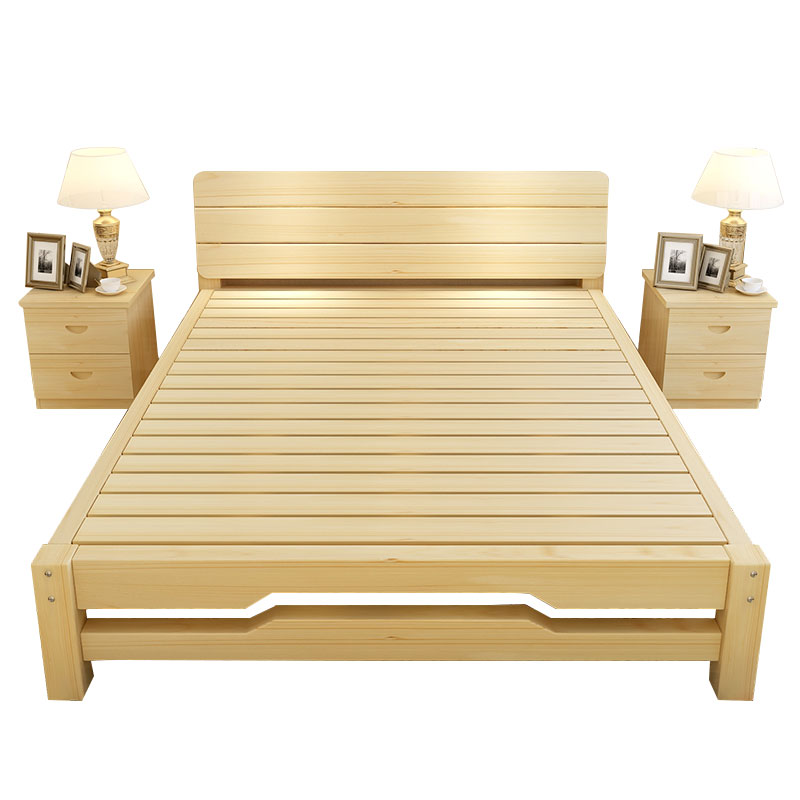 Solid wood bed 1.5 meters 1.8 meters double bed single bed pine children bed 1 meters 1.2 meters to the wooden mold